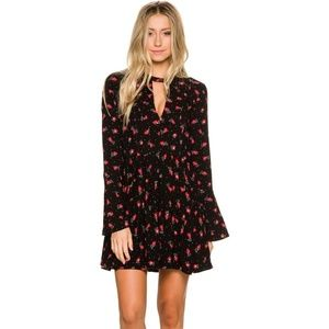 Free People Mini Dress Tegan Printed Black Comb